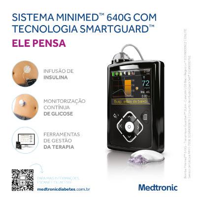 Sistema Minimed 640G com Tecnologia Smartguard. Ele pen...